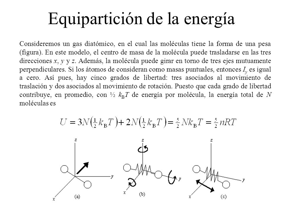 Equipartición de la energía Consideremos un gas diatómico, en el cual las moléculas tiene la forma de una pesa (figura).