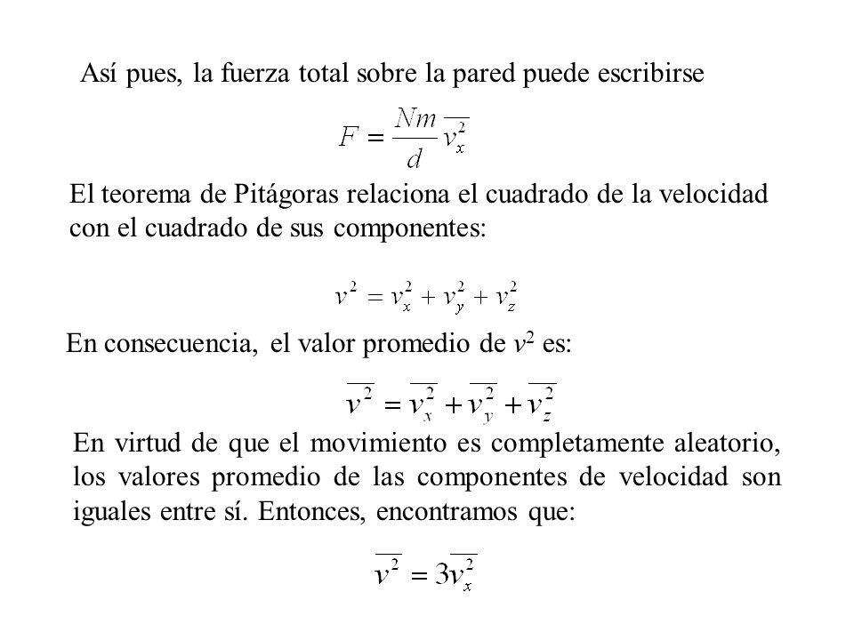 Así, la fuerza sobre la pared es: Esta expresión nos permite encontrar la presión total sobre la pared: Este resultado muestra que la presión es proporcional al número de moléculas por unidad de volumen y a la energía cinética traslacional promedio de la molécula,
