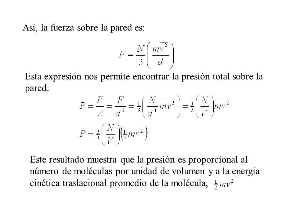 Interpretación molecular de la temperatura Es posible comprender más profundamente el significado de la temperatura si escribimos la ecuación anterior la escribimos como: Comparándola con la ecuación de estado de un gas ideal: PV = Nk B T De aquí encontramos que