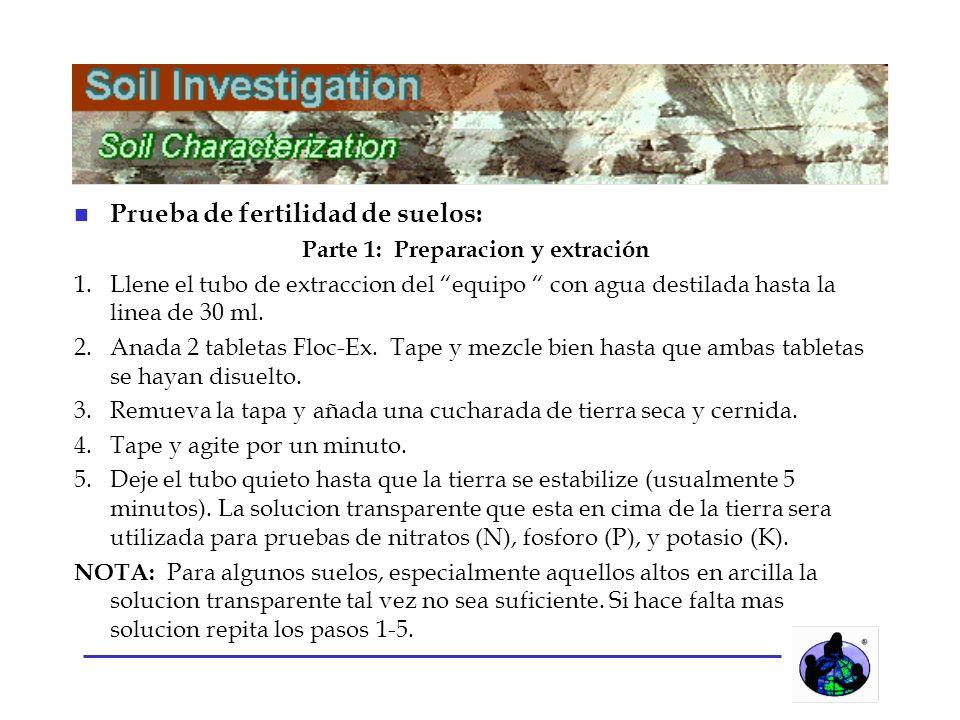 n Prueba de fertilidad de suelos: Parte 1: Preparacion y extración 1.