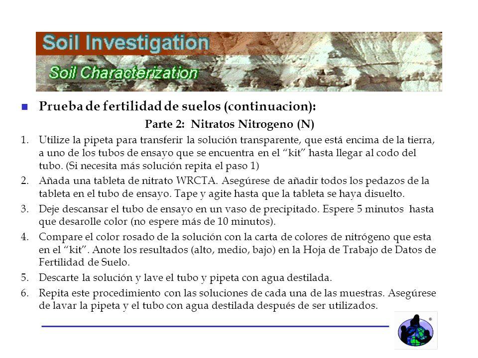 n Prueba de fertilidad de suelos (continuacion): Parte 2: Nitratos Nitrogeno (N) 1.