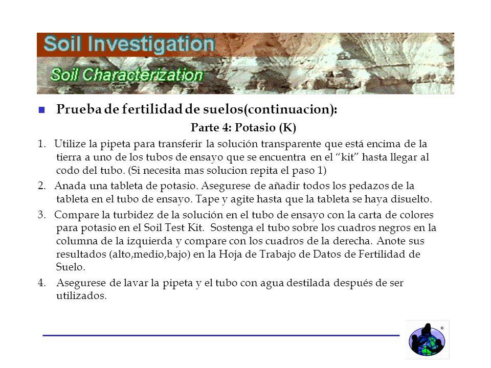 n Prueba de fertilidad de suelos(continuacion): Parte 4: Potasio (K) 1.