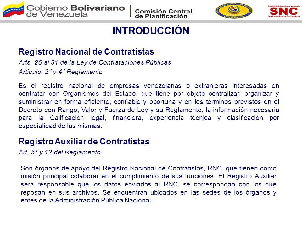 PROCESO DE INSCRIPCIÓN EN EL RNC A través de la página web http://www.snc.gob.ve/ Es contratista y no esta registrado en el RNC.