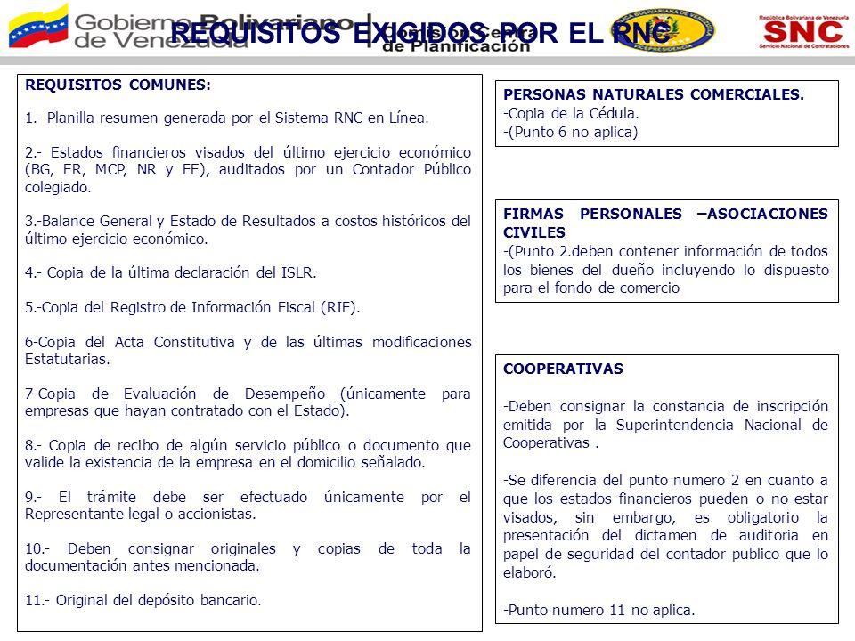 REQUISITOS EXIGIDOS POR EL RNC Empresas Extranjeras con Sucursal en Venezuela: 1.-Planilla Resumen generada por el Sistema RNC en Línea.