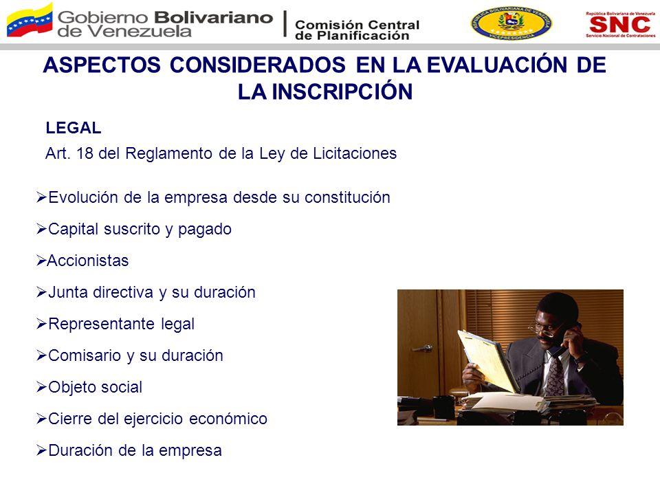 ASPECTOS CONSIDERADOS EN LA EVALUACIÓN DE LA INSCRIPCIÓN ESPECIALIDAD Art.