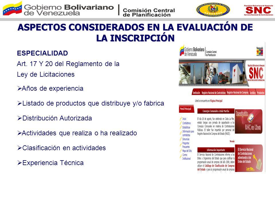 ASPECTOS CONSIDERADOS EN LA EVALUACIÓN DE LA INSCRIPCIÓN FINANCIERO Art.