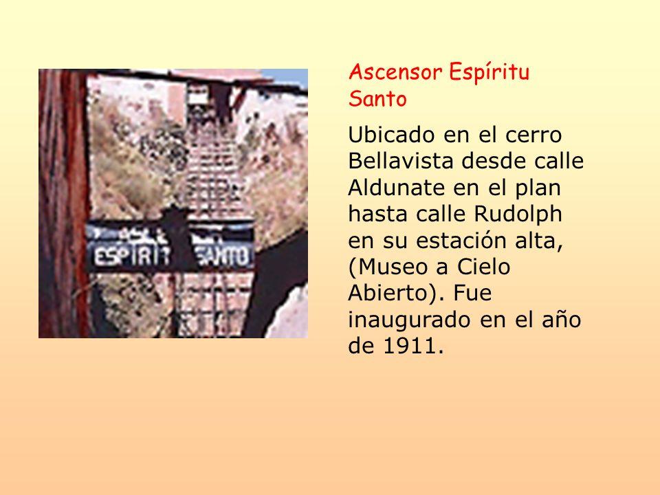 Ascensor Espíritu Santo Ubicado en el cerro Bellavista desde calle Aldunate en el plan hasta calle Rudolph en su estación alta, (Museo a Cielo Abierto