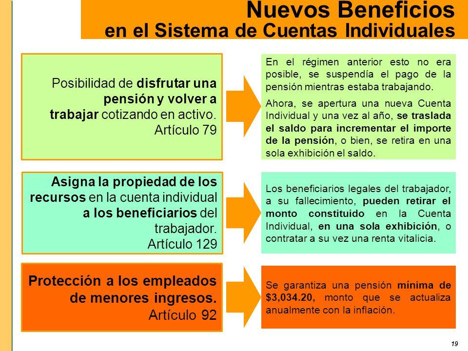 19 Nuevos Beneficios en el Sistema de Cuentas Individuales En el régimen anterior esto no era posible, se suspendía el pago de la pensión mientras est