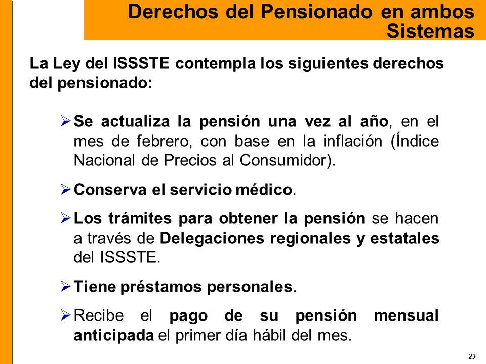 23 Se actualiza la pensión una vez al año, en el mes de febrero, con base en la inflación (Índice Nacional de Precios al Consumidor). Conserva el serv