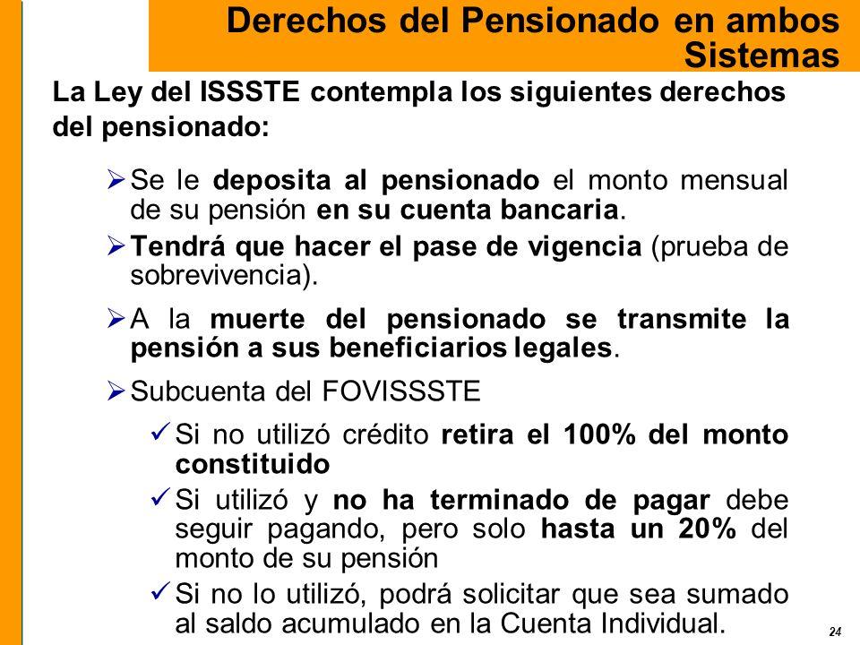 24 Se le deposita al pensionado el monto mensual de su pensión en su cuenta bancaria. Tendrá que hacer el pase de vigencia (prueba de sobrevivencia).