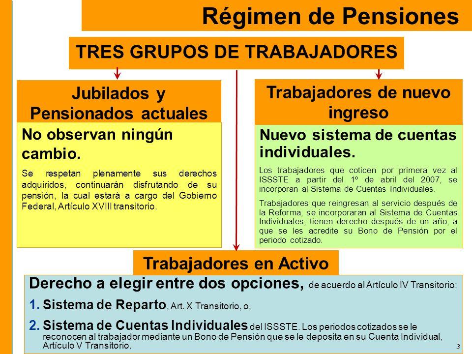 3 Trabajadores de nuevo ingreso Régimen de Pensiones Nuevo sistema de cuentas individuales. Los trabajadores que coticen por primera vez al ISSSTE a p