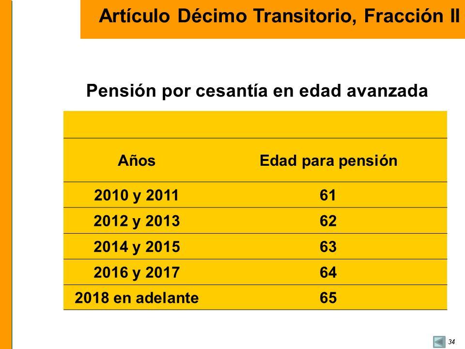 34 AñosEdad para pensión 2010 y 201161 2012 y 201362 2014 y 201563 2016 y 201764 2018 en adelante65 Pensión por cesantía en edad avanzada Artículo Déc