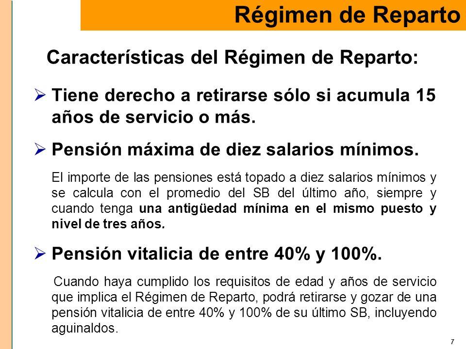 7 Tiene derecho a retirarse sólo si acumula 15 años de servicio o más. Pensión máxima de diez salarios mínimos. El importe de las pensiones está topad