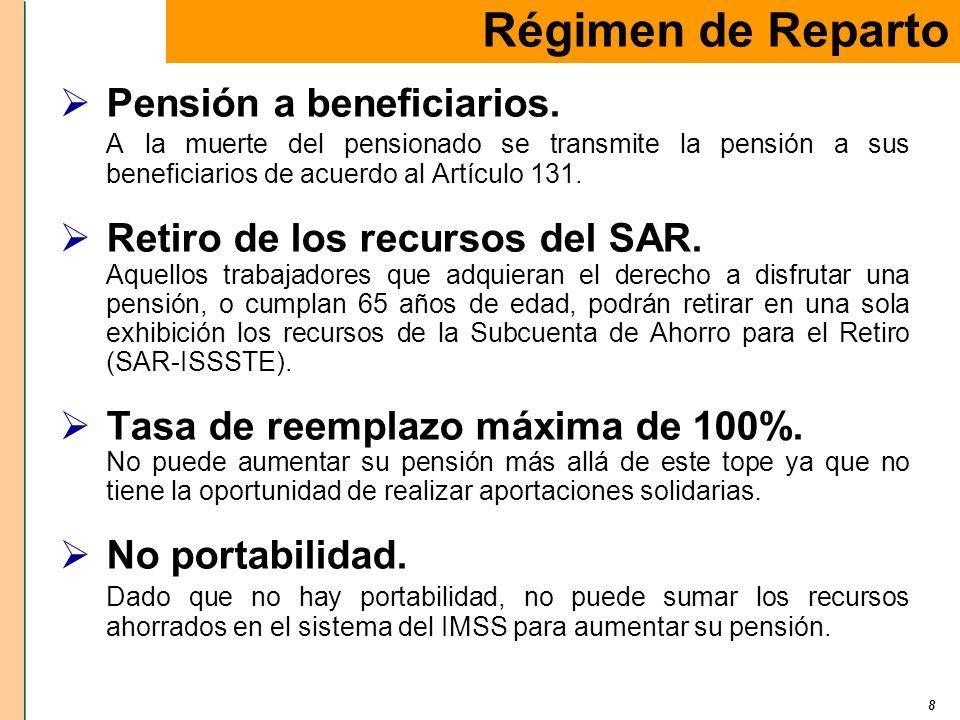 8 Pensión a beneficiarios. A la muerte del pensionado se transmite la pensión a sus beneficiarios de acuerdo al Artículo 131. Retiro de los recursos d