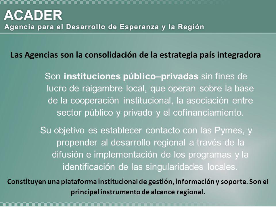 Son instituciones público–privadas sin fines de lucro de raigambre local, que operan sobre la base de la cooperación institucional, la asociación entr