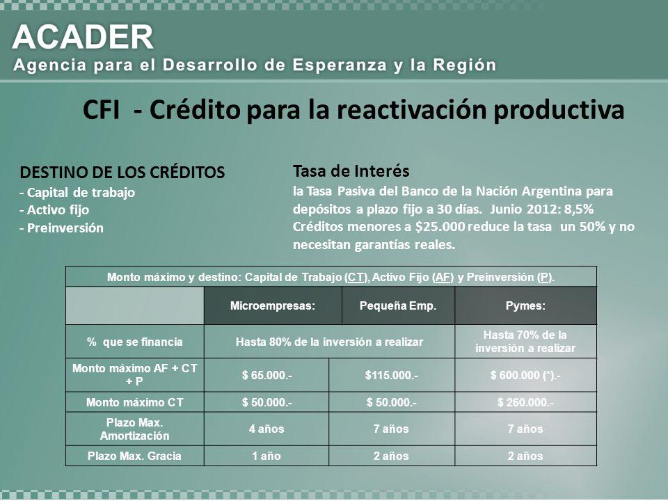 DESTINO DE LOS CRÉDITOS - Capital de trabajo - Activo fijo - Preinversión Monto máximo y destino: Capital de Trabajo (CT), Activo Fijo (AF) y Preinversión (P).