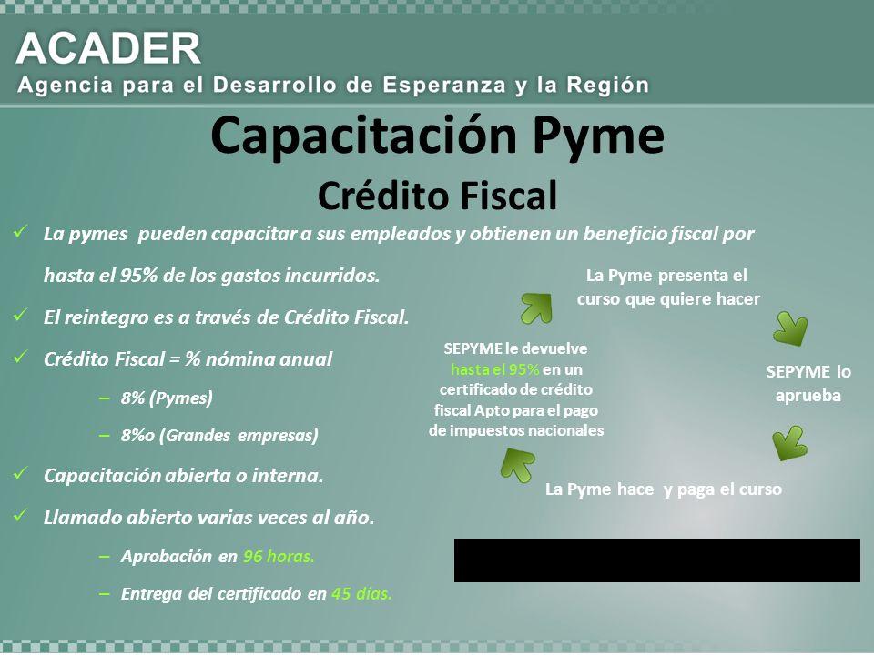 La Pyme presenta el curso que quiere hacer SEPYME le devuelve hasta el 95% en un certificado de crédito fiscal Apto para el pago de impuestos nacionales SEPYME lo aprueba La Pyme hace y paga el curso La pymes pueden capacitar a sus empleados y obtienen un beneficio fiscal por hasta el 95% de los gastos incurridos.
