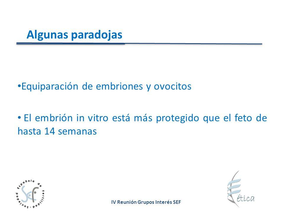 IV Reunión Grupos Interés SEF Algunas paradojas Equiparación de embriones y ovocitos El embrión in vitro está más protegido que el feto de hasta 14 se