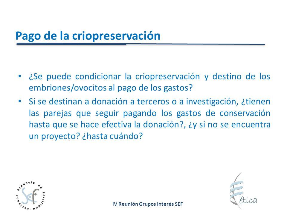 IV Reunión Grupos Interés SEF Pago de la criopreservación ¿Se puede condicionar la criopreservación y destino de los embriones/ovocitos al pago de los gastos.