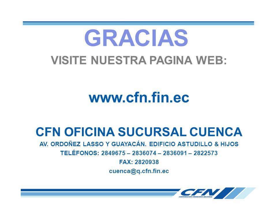 VISITE NUESTRA PAGINA WEB: www.cfn.fin.ec CFN OFICINA SUCURSAL CUENCA AV. ORDOÑEZ LASSO Y GUAYACÁN. EDIFICIO ASTUDILLO & HIJOS TELÉFONOS: 2849675 – 28
