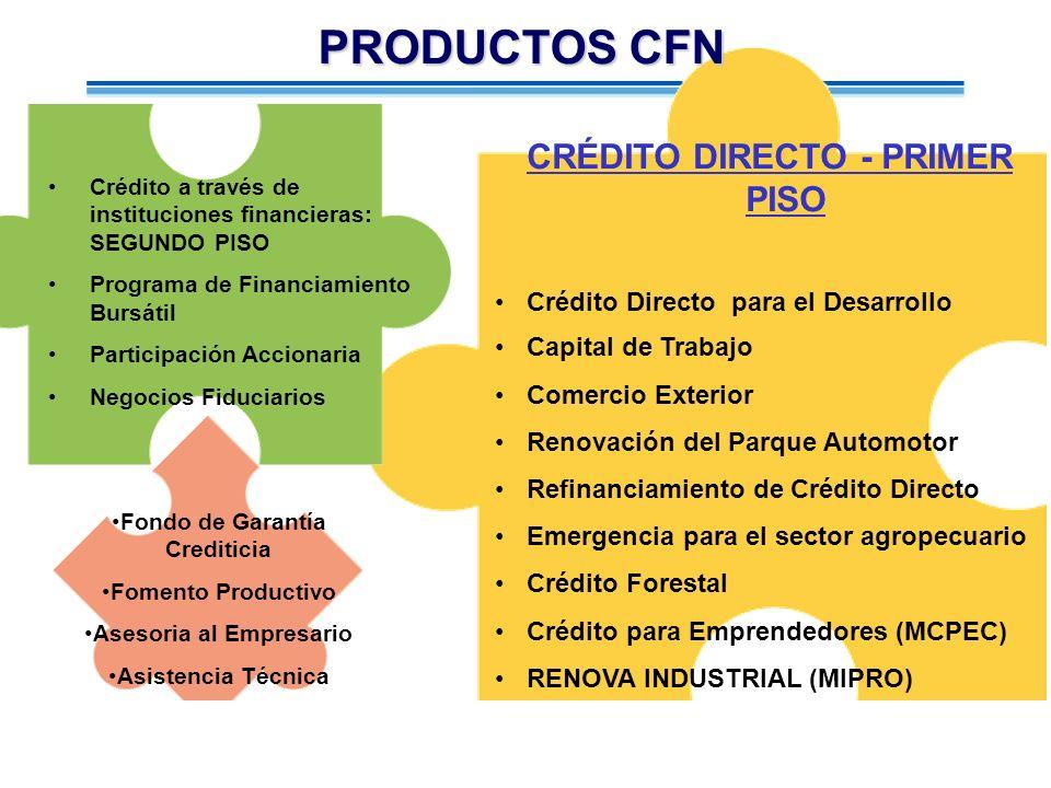 Crédito a través de instituciones financieras: SEGUNDO PISO Programa de Financiamiento Bursátil Participación Accionaria Negocios Fiduciarios CRÉDITO