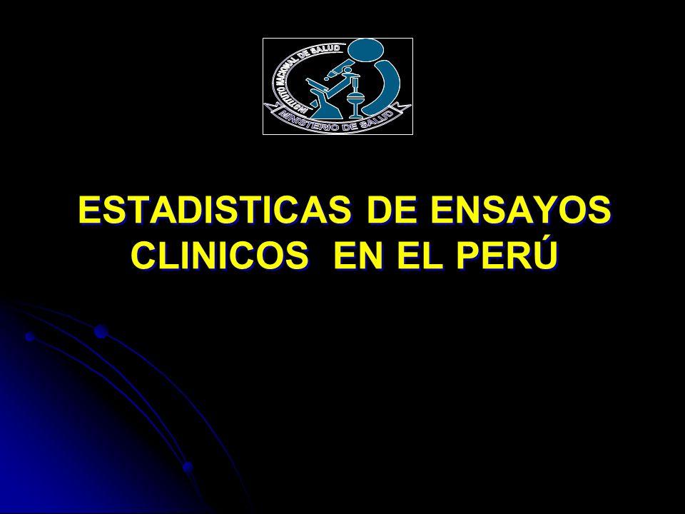 ESTADISTICAS DE ENSAYOS CLINICOS EN EL PERÚ