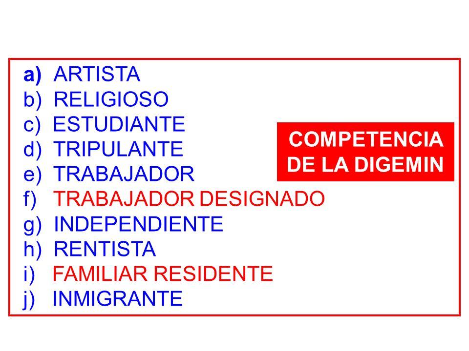a) ARTISTA b) RELIGIOSO c) ESTUDIANTE d) TRIPULANTE e) TRABAJADOR f) TRABAJADOR DESIGNADO g) INDEPENDIENTE h) RENTISTA i) FAMILIAR RESIDENTE j) INMIGR