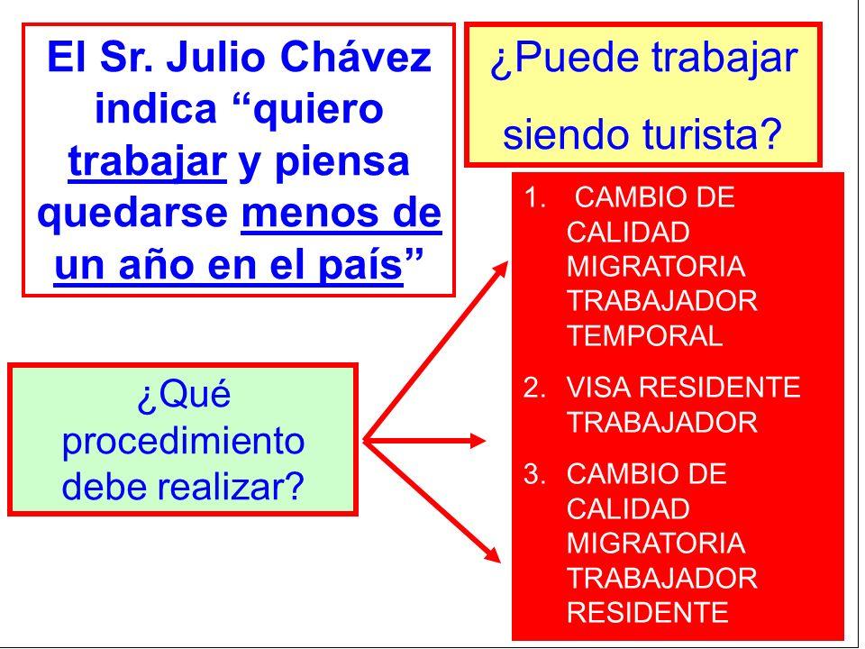 El Sr. Julio Chávez indica quiero trabajar y piensa quedarse menos de un año en el país ¿Puede trabajar siendo turista? ¿Qué procedimiento debe realiz