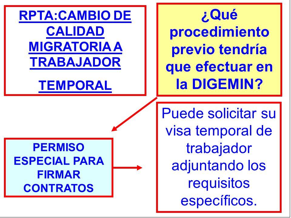 RPTA:CAMBIO DE CALIDAD MIGRATORIA A TRABAJADOR TEMPORAL ¿Qué procedimiento previo tendría que efectuar en la DIGEMIN? PERMISO ESPECIAL PARA FIRMAR CON