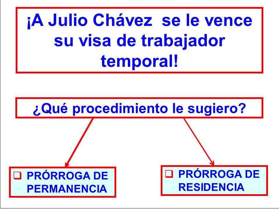¡A Julio Chávez se le vence su visa de trabajador temporal! ¿Qué procedimiento le sugiero? PRÓRROGA DE PERMANENCIA PRÓRROGA DE RESIDENCIA