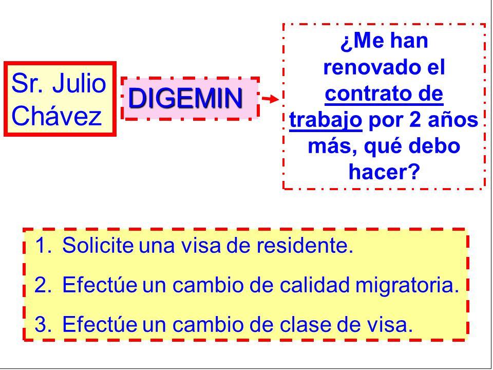 Sr. Julio Chávez ¿Me han renovado el contrato de trabajo por 2 años más, qué debo hacer? 1.Solicite una visa de residente. 2.Efectúe un cambio de cali