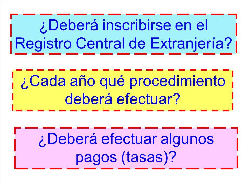 ¿Deberá inscribirse en el Registro Central de Extranjería? ¿Cada año qué procedimiento deberá efectuar? ¿Deberá efectuar algunos pagos (tasas)?