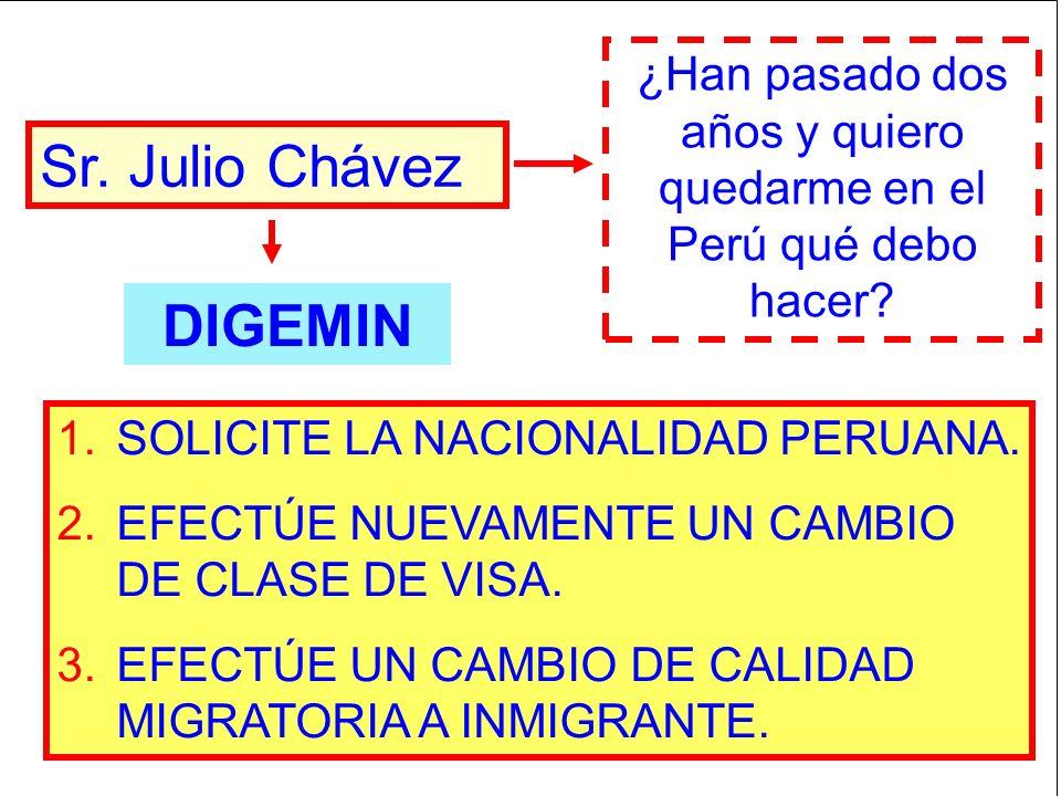 Sr. Julio Chávez ¿Han pasado dos años y quiero quedarme en el Perú qué debo hacer? 1.SOLICITE LA NACIONALIDAD PERUANA. 2.EFECTÚE NUEVAMENTE UN CAMBIO