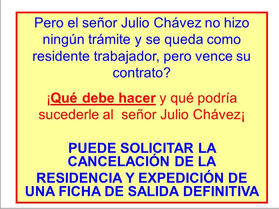Pero el señor Julio Chávez no hizo ningún trámite y se queda como residente trabajador, pero vence su contrato? ¡Qué debe hacer y qué podría sucederle
