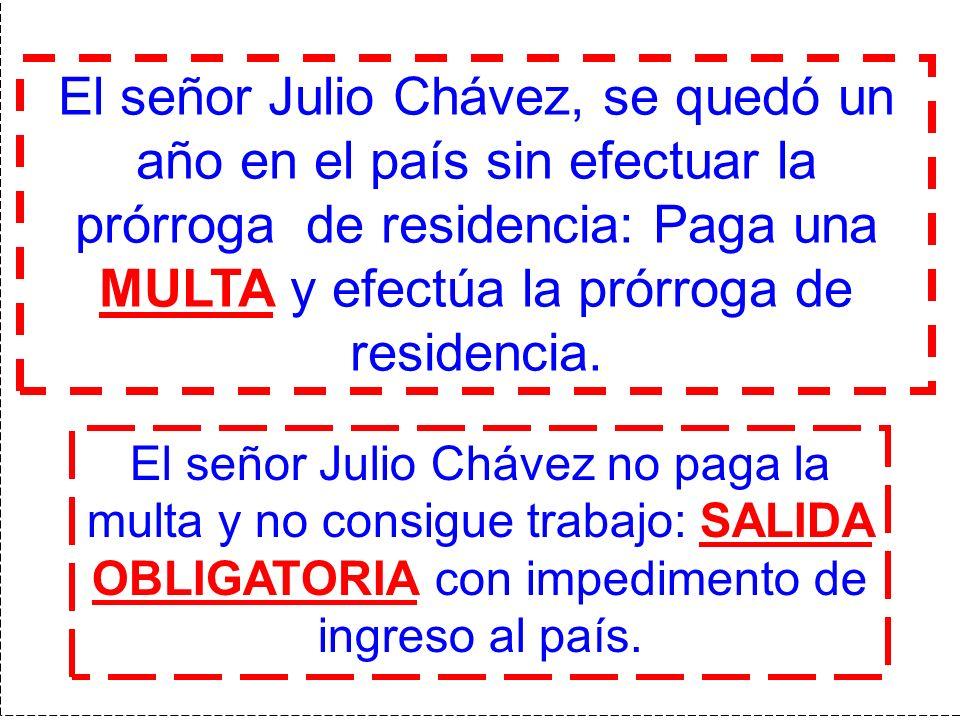 El señor Julio Chávez, se quedó un año en el país sin efectuar la prórroga de residencia: Paga una MULTA y efectúa la prórroga de residencia. El señor