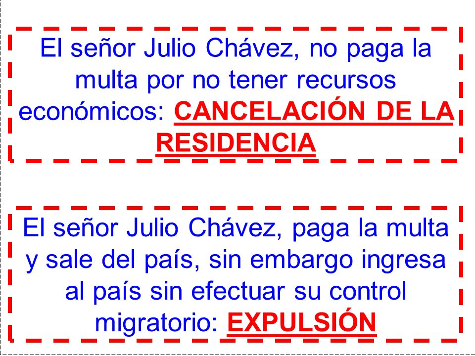 El señor Julio Chávez, paga la multa y sale del país, sin embargo ingresa al país sin efectuar su control migratorio: EXPULSIÓN El señor Julio Chávez,