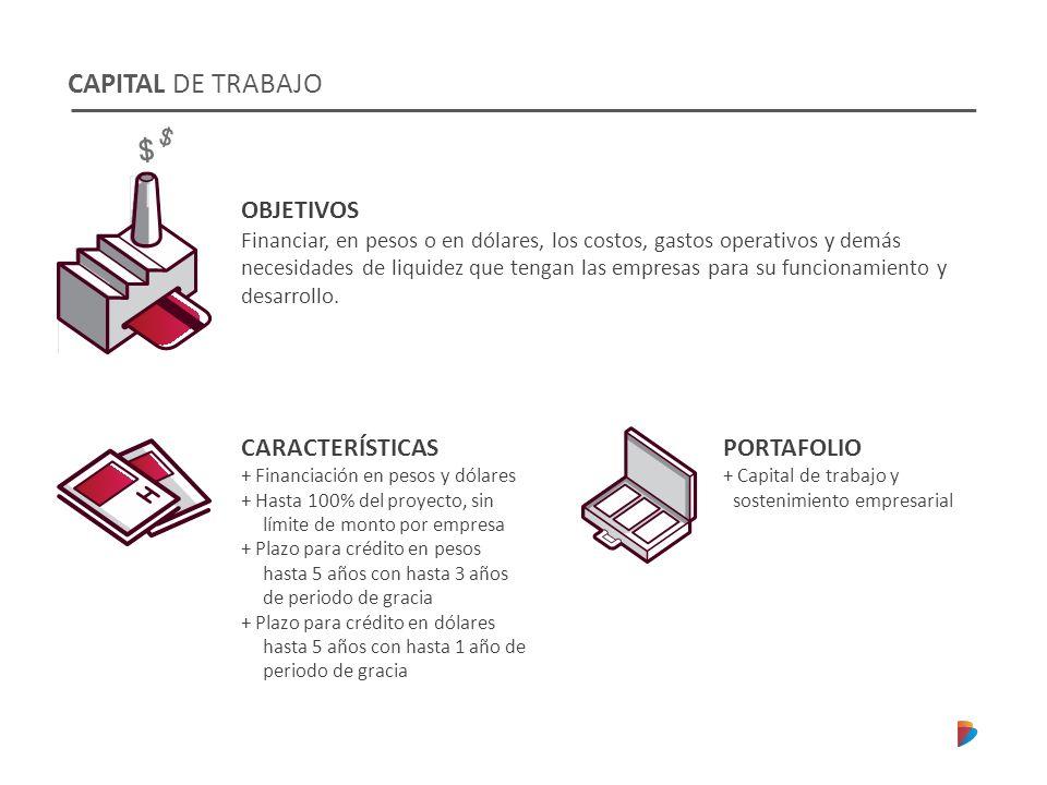 CAPITAL DE TRABAJO CARACTERÍSTICAS + Financiación en pesos y dólares + Hasta 100% del proyecto, sin límite de monto por empresa + Plazo para crédito e