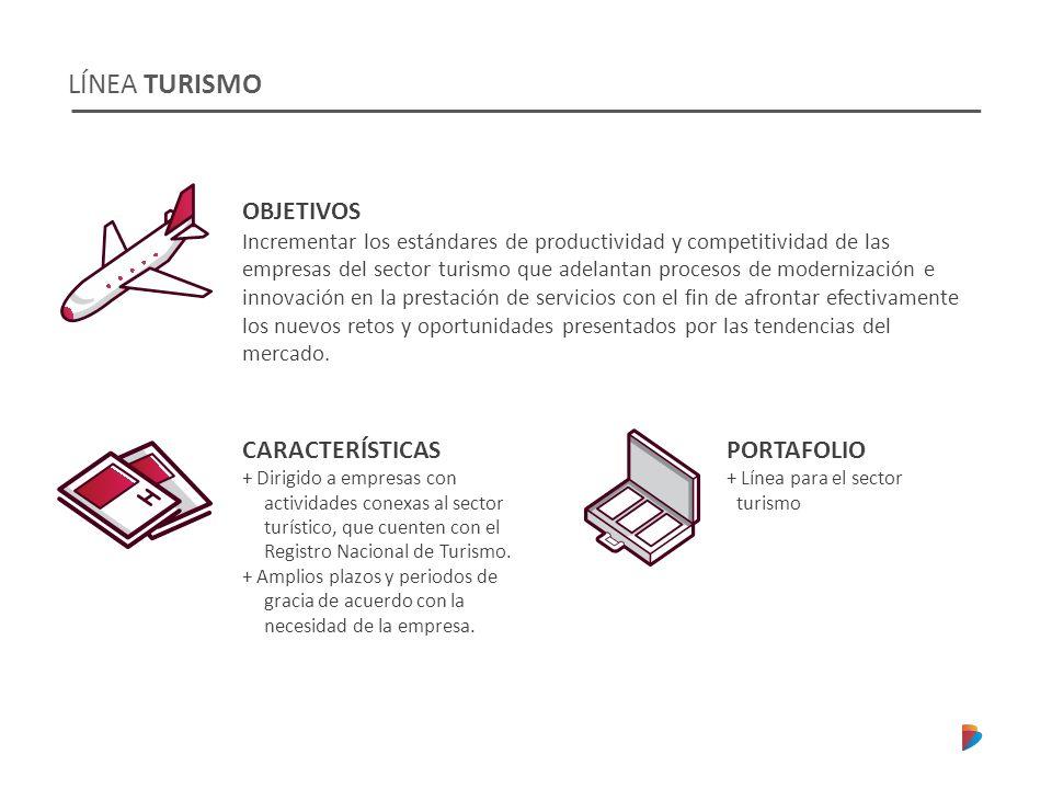 LÍNEA TURISMO CARACTERÍSTICAS + Dirigido a empresas con actividades conexas al sector turístico, que cuenten con el Registro Nacional de Turismo. + Am