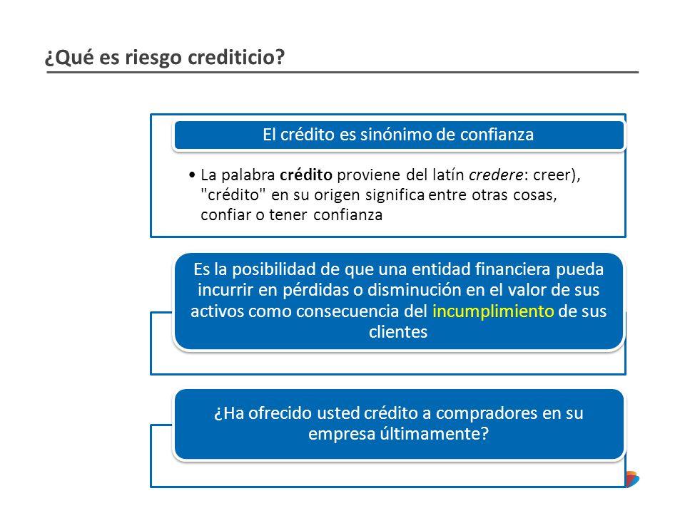 ¿Qué es riesgo crediticio? La palabra crédito proviene del latín credere: creer),