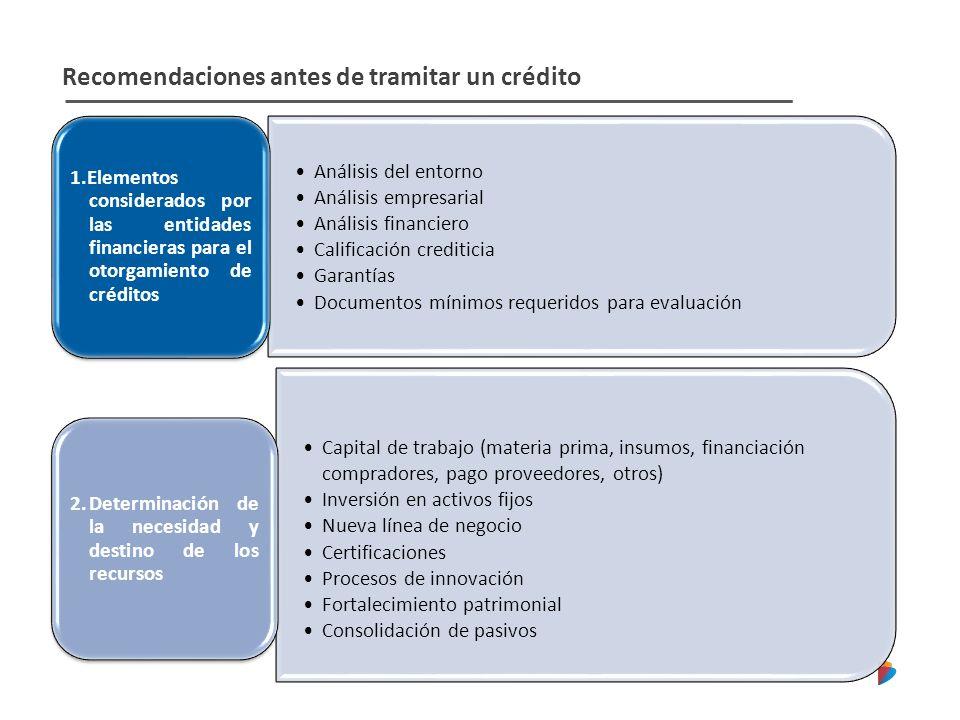 Recomendaciones antes de tramitar un crédito Análisis del entorno Análisis empresarial Análisis financiero Calificación crediticia Garantías Documento