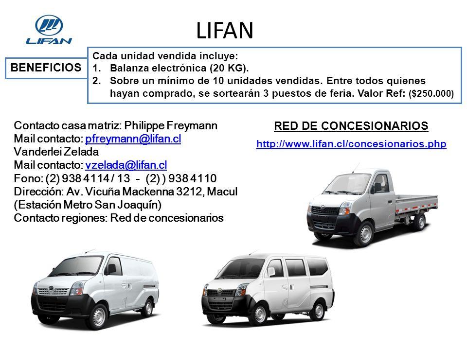 LIFAN http://www.lifan.cl/concesionarios.php Cada unidad vendida incluye: 1.Balanza electrónica (20 KG).