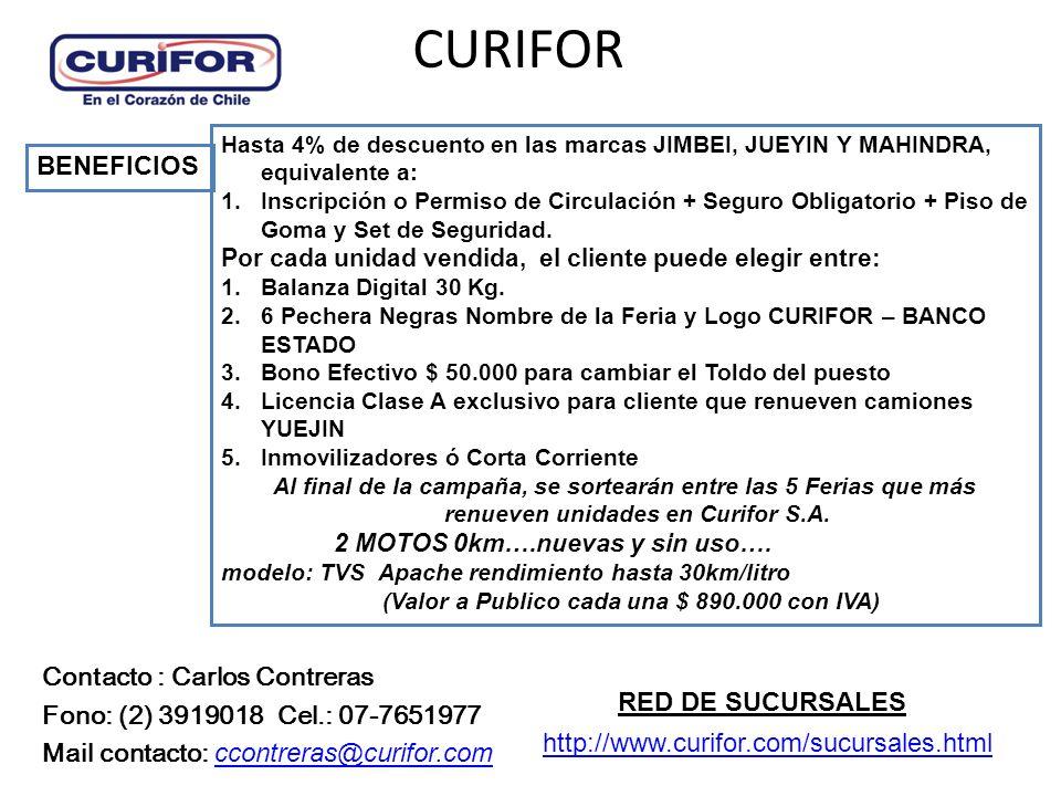CURIFOR Hasta 4% de descuento en las marcas JIMBEI, JUEYIN Y MAHINDRA, equivalente a: 1.Inscripción o Permiso de Circulación + Seguro Obligatorio + Piso de Goma y Set de Seguridad.