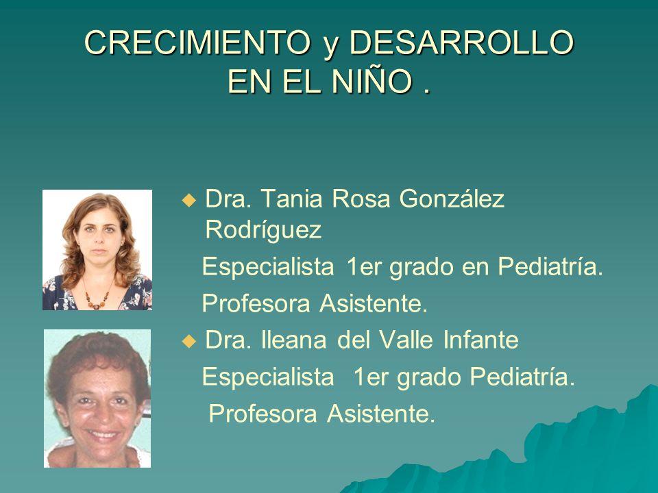 CRECIMIENTO y DESARROLLO EN EL NIÑO. Dra. Tania Rosa González Rodríguez Especialista 1er grado en Pediatría. Profesora Asistente. Dra. Ileana del Vall