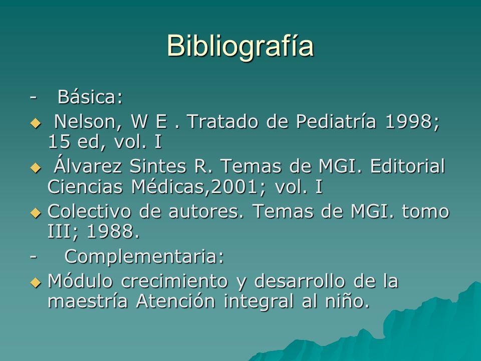 Bibliografía - Básica: Nelson, W E. Tratado de Pediatría 1998; 15 ed, vol. I Nelson, W E. Tratado de Pediatría 1998; 15 ed, vol. I Álvarez Sintes R. T