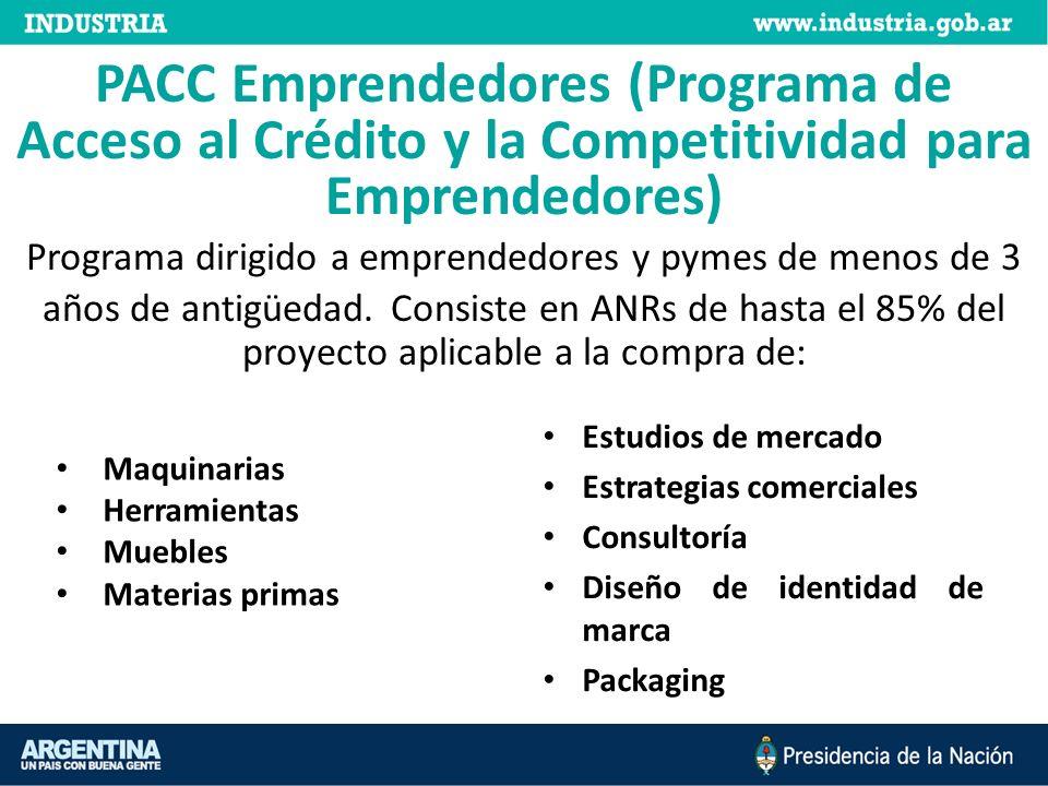 PACC Emprendedores (Programa de Acceso al Crédito y la Competitividad para Emprendedores) Programa dirigido a emprendedores y pymes de menos de 3 años de antigüedad.