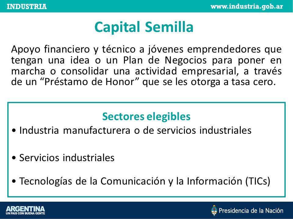 Capital Semilla Apoyo financiero y técnico a jóvenes emprendedores que tengan una idea o un Plan de Negocios para poner en marcha o consolidar una actividad empresarial, a través de un Préstamo de Honor que se les otorga a tasa cero.