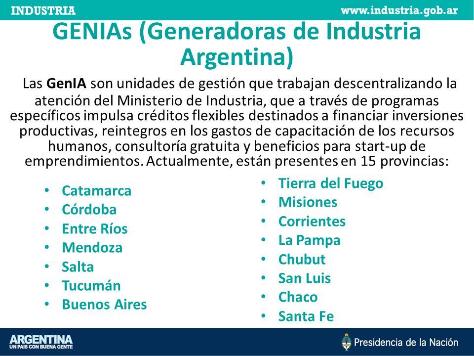 GENIAs (Generadoras de Industria Argentina) Las GenIA son unidades de gestión que trabajan descentralizando la atención del Ministerio de Industria, que a través de programas específicos impulsa créditos flexibles destinados a financiar inversiones productivas, reintegros en los gastos de capacitación de los recursos humanos, consultoría gratuita y beneficios para start-up de emprendimientos.