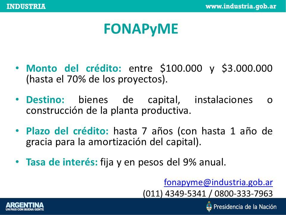 FONAPyME Monto del crédito: entre $100.000 y $3.000.000 (hasta el 70% de los proyectos).