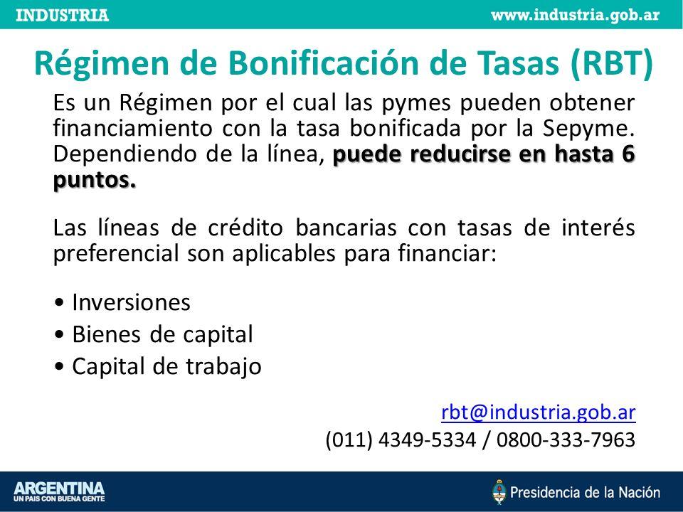 Régimen de Bonificación de Tasas (RBT) puede reducirse en hasta 6 puntos.