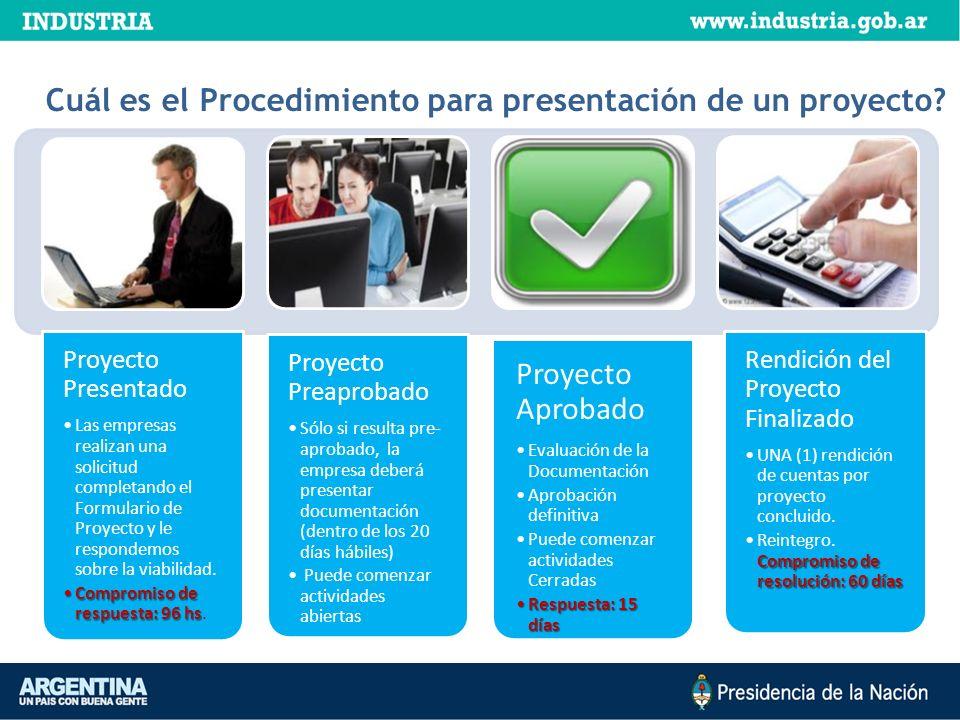 ¿Cuál es el Procedimiento para presentación de un proyecto? Proyecto Presentado Las empresas realizan una solicitud completando el Formulario de Proye